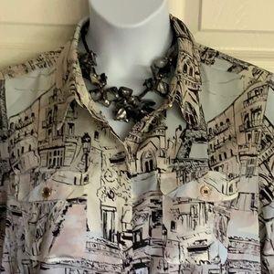 KARL LAGERFELD  plus size Paris print blouse